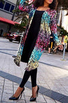 Stunning Long Sleeve Collarless Patchwork Sequins Cardigan