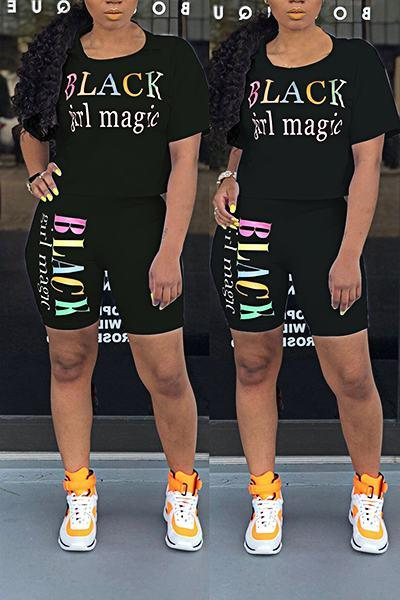 Urban Short Sleeve Crew Neck Black Girl Magic Print Two Piece Set