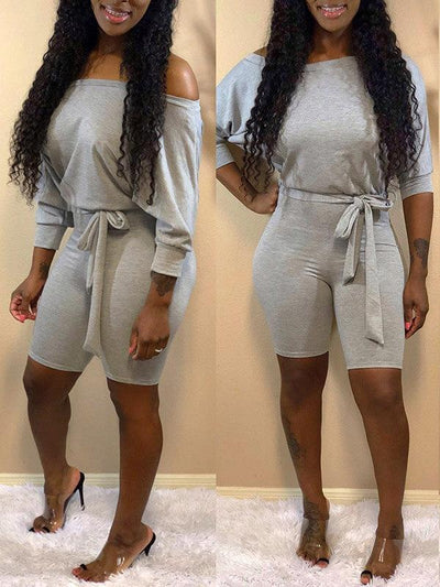 Off Shoulder Romper With Belt