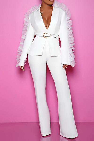 Plain Long Sleeve Deep V Neck Pretty Ruching Blazer Set
