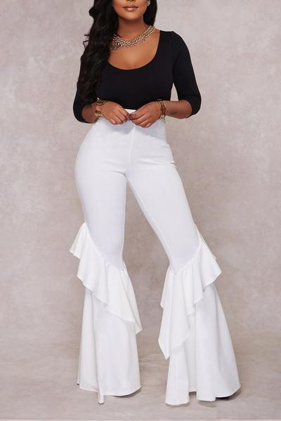 Monochrome Flared Bell Bottom Tiered Ruffled Clubbing Pants