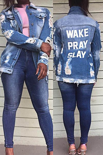 Funky Long Sleeve Wake Pray Slay Print Distressed Denim Jacket