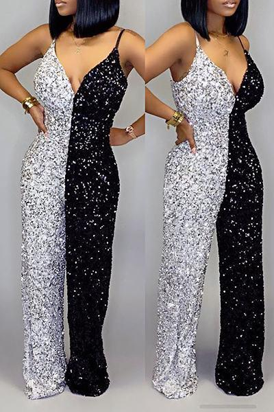 Feminine Sleeveless Suspenders Color Block Sequins Princess Jumpsuit