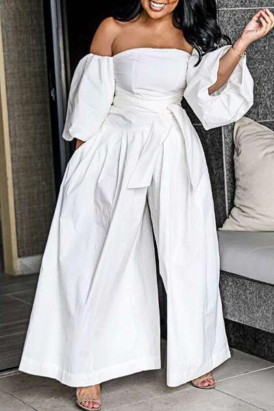 Modern 3/4 Length Sleeve Off Shoulder White Bell Bottoms Jumpsuit