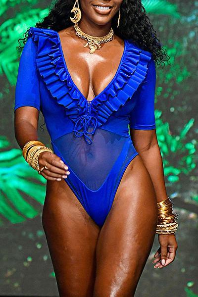 Blue Short Sleeve V Neck Glamorous Ruffles One Piece Swimsuit