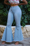 High Waist Flared Blue Denim Retro Bell Bottom Jeans Pants WhatLovely
