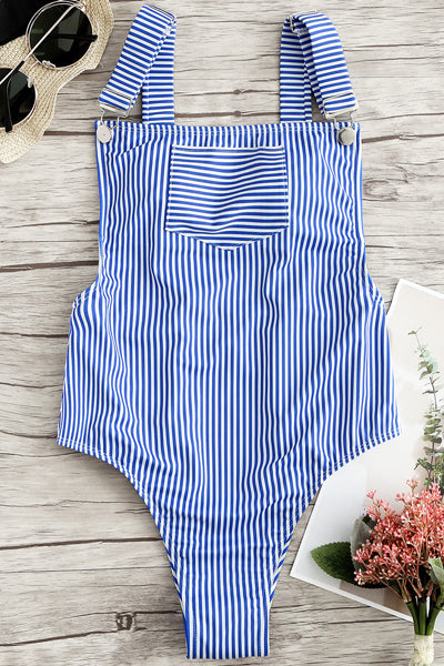 Striped Suspenders High Leg Swimsuit