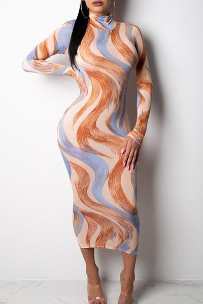 Brown Blue Abstract Print Long Sleeve High Neck Midi Wiggle Dress