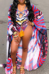 Tribal Print Beach Robe Wrap Cover Up & Striking One Piece Swimsuit