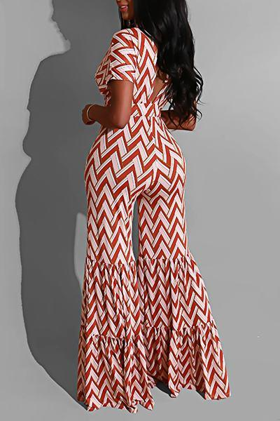 Zig Zag Short Sleeve Wide Leg Pretty Long Backless Jumpsuit