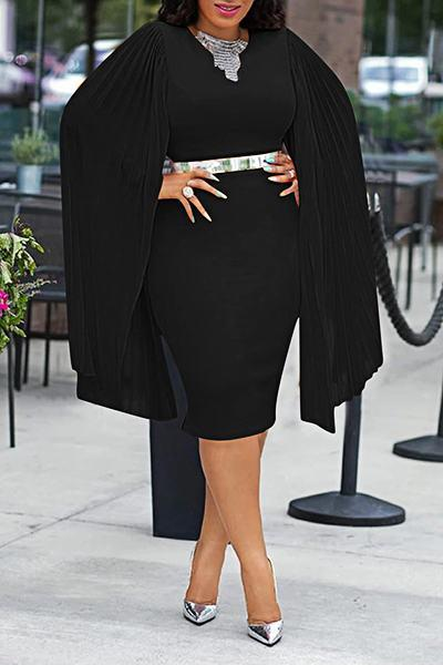 Tropical Split Sleeve Round Collar Black Pleated Dress