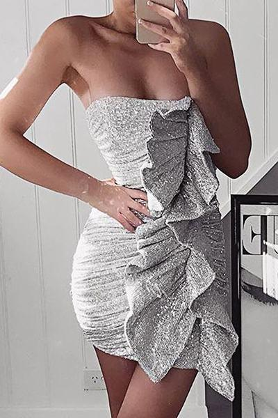 Glittery Sleeveless Bandeau Silvery Short Sequins Ruffles Dress