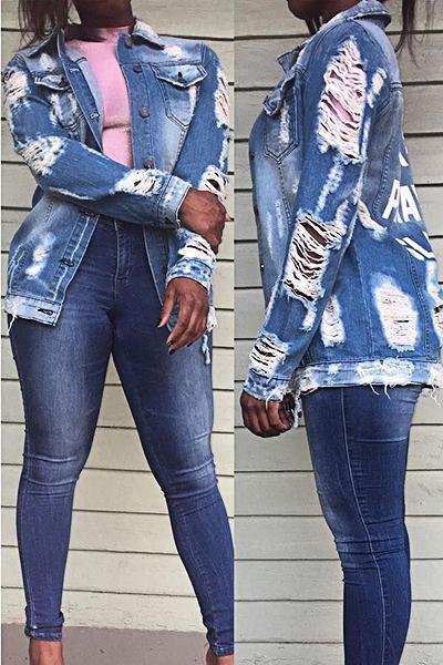 Distressed Wake Pray Slay Print Long Sleeve Funky Denim Jacket