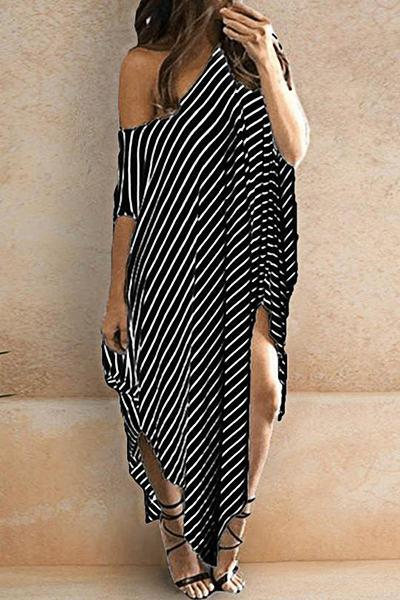 Stripy Short Sleeve Slash Neck Girly Multi-Length Dress
