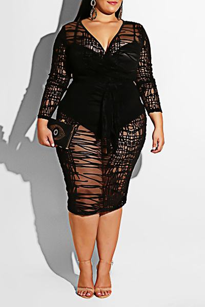 Black Long Sleeve V Neck Feminine One Piece See-through Dress