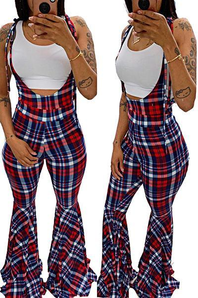 Cute High Rise Suspenders Plaid Long Flared Pants