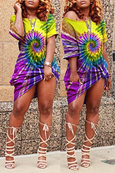 Abstract Print Short Sleeve Laid Back Short Knotted T-Shirt Dress