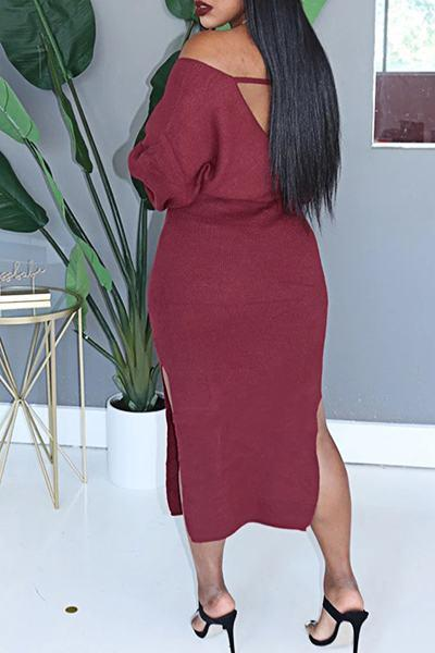 Stunning Long Sleeve V Neck Solid Color Split Dress With Belt