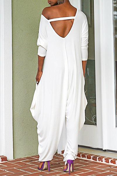 White Long Sleeve Sweetheart Neck Boho Long Jumpsuit