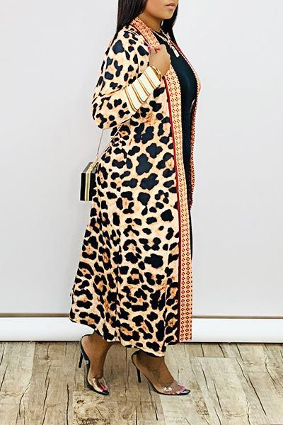 On-trend Long Sleeve Collarless Leopard Print Calf-Length Cardigan