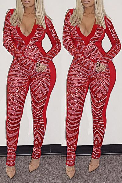 Sequinned Color Block Long Sleeve V Neck Glittery Long Jumpsuit