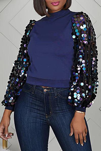 Modern Puff Sleeve Turtle Neck Patchwork Sequins Short Top