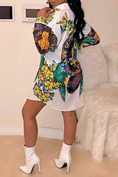 Graphic Print Long Sleeve Shirt Collar Kitsch Single Breasted Dress