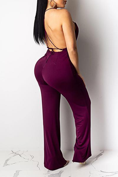 Flirty Backless Spaghetti Strap Plain Long Jumpsuit