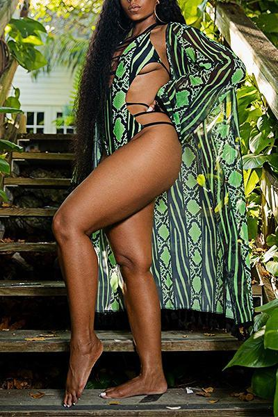 Retro Halter Neck Snake Print Bandage Plus Size One-Piece Swimsuit