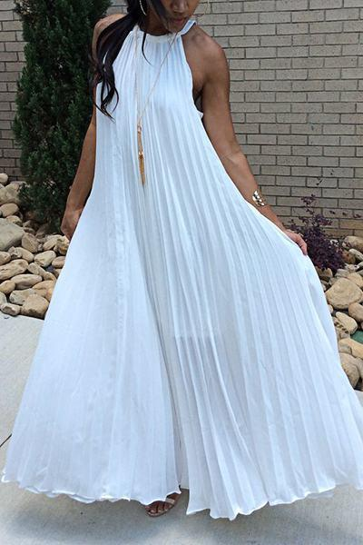 Solid Color Sleeveless Halter Neck Glamorous Pleated Dress