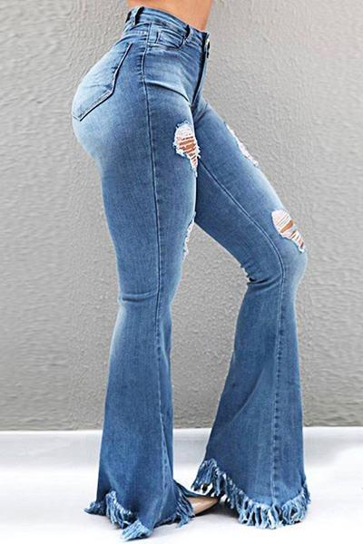 Modern High Rise Skinny Fit Distressed Long Tassels Jeans