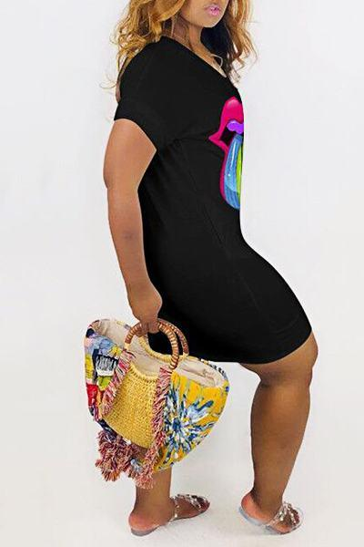 On-trend Short Sleeve V Neck Colorful Mouth Print Mini Dress