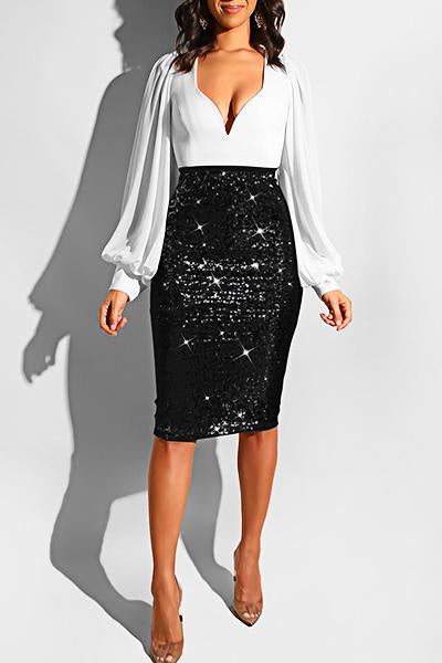 Glittery High Rise Skinny Fit Sequinned Knee-Length Skirt