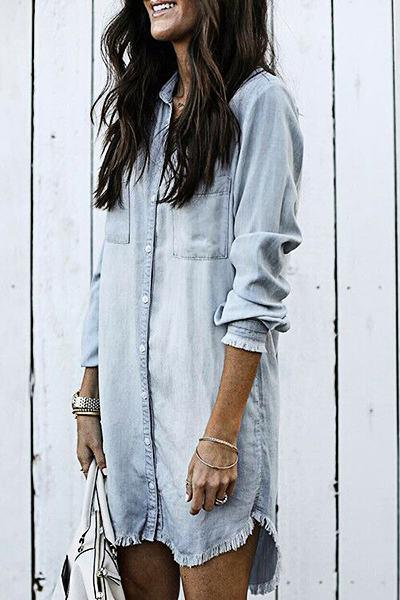 Laid Back Long Sleeve Shirt Collar Bleached Denim Dress