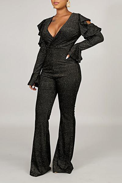 Romantic Trumpet Sleeve V Neck Jewelled Ruffle Long Jumpsuit