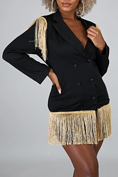 Patchwork Tassels Long Sleeve Lapel Collar Boyish Blazer Dress