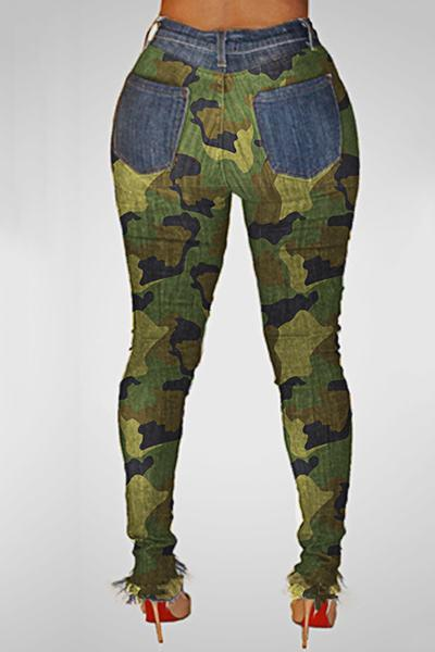 Rocking Medium Rise Skinny Fit Camouflage Gypsy Jeans