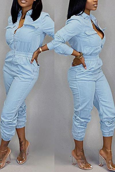 Boyish Long Sleeve Mandarin Collar Blue Denim Zipper Jumpsuit
