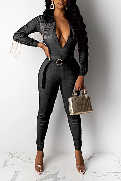 Edgy Long Sleeve V Neck Patchwork Denim Zipper Jumpsuit With Belt