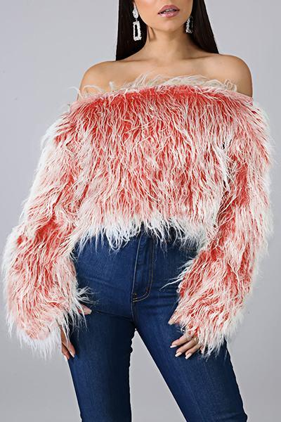Glamorous Long Sleeve Off Shoulder Solid Color Faux Fur Sweater