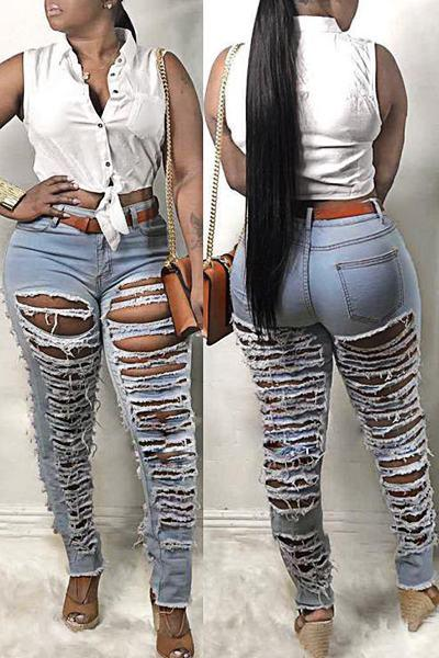 Distressed Medium Rise Slim Fit Bold Regular Jeans