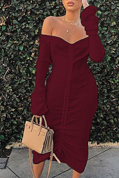 Plain Long Sleeve Off Shoulder Chic Ruched Midi Dress