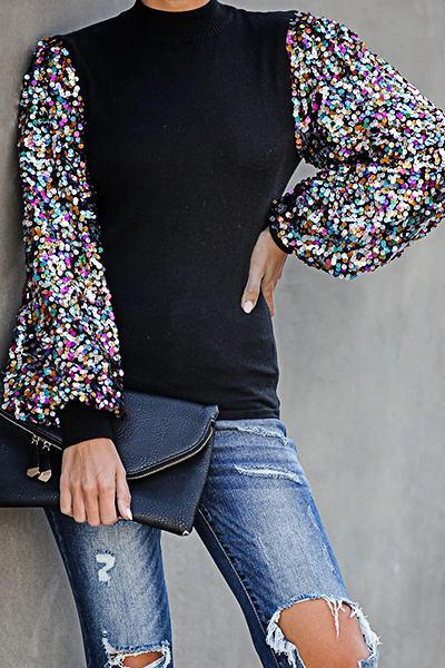 Bright Puff Sleeve Round Neck Patchwork Sequins Hip-Length Top