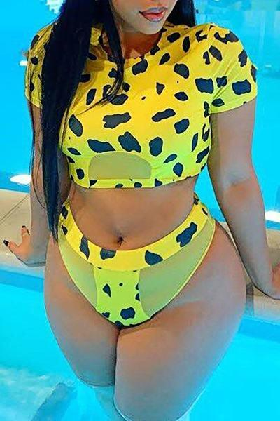 Whimsical High Rise Round Collar Leopard Print Two Piece Bikini