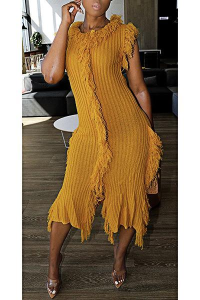Feminine Round Neck Solid Color Ruching Tassels Sweater Dress
