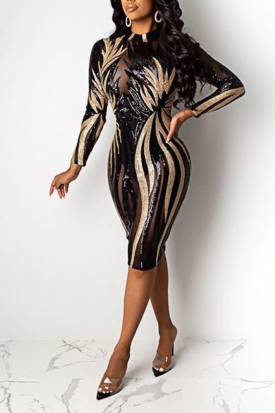 Luxe Long Sleeve Turtle Neck Abstract Print Sequins Sheath Dress