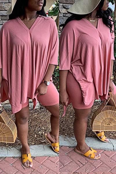 Casual Half Sleeve V Neck Solid Color Tailored Short Set