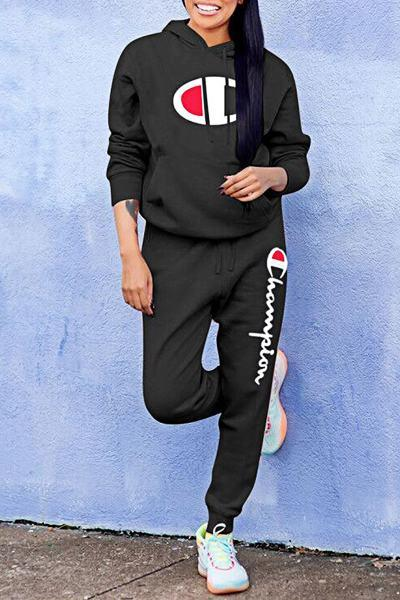 Logo Embroidery Long Sleeve Hooded Sporty Regular Set