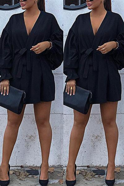Black Puff Sleeve V Neck Glamorous Short Dress With Belt