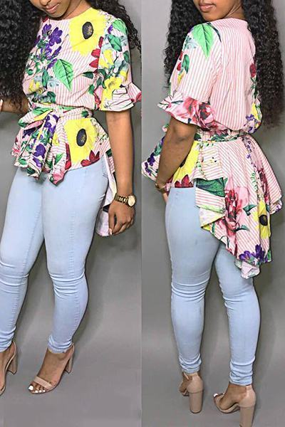Flower Print Ruffle Sleeve Round Neck Striking Multi-Length T-Shirt